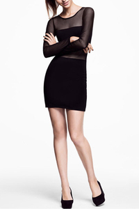 Black+Mesh+Cutout+Sexy+Bodycon+Dress