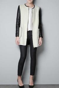 Leather+Sleeve+White+Coat