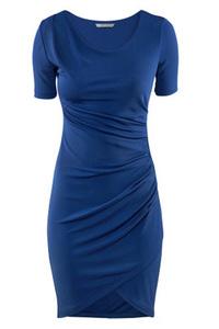 Short+Sleeve+Round+Neck+Ruched+Dress