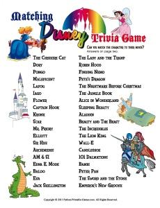 Slumber+Party+Games%3A+Disney+Trivia+Match